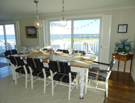 North Chatham, Beach, w Kayaks Cape Cod vacation rental - View of the dining room at the top of the stairs