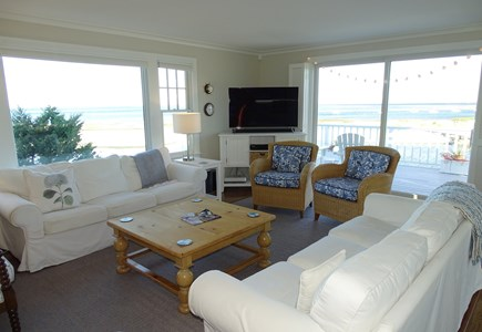 "North Chatham, Beach, w Kayaks Cape Cod vacation rental - Living room - with commanding ""cut"" and harbor views"