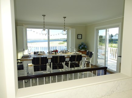 North Chatham, Beach, w 4 kaya Cape Cod vacation rental - View of dining from the kitchen pass thru - always water views