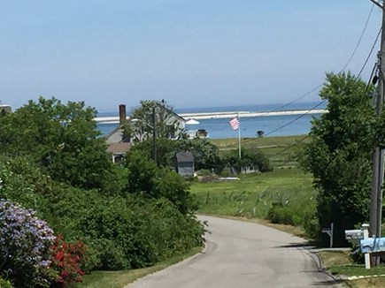 North Chatham with Beach, Kaya Cape Cod vacation rental - Old Wharf Rd. view down to our Flag/Home