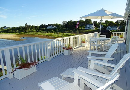 North Chatham, Beach, w Kayaks Cape Cod vacation rental - Upper deck facing water w/ dining spot, grill, Adirondack chairs