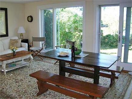 Woods Hole Woods Hole vacation rental - Kitchen & sitting area with slider out to backyard and Mill Pond