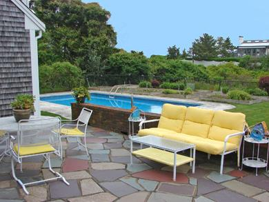 Near Lighthouse beach/Chatham Cape Cod vacation rental - Sit outside on the patio, overlooking pool area