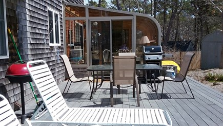 Wellfleet Cape Cod vacation rental - Back deck and sun porch, with outdoor gas grill