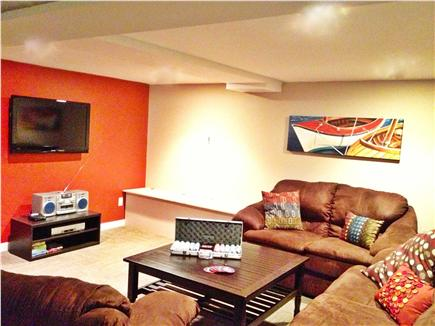 South Harwich Cape Cod vacation rental - Basement media room with flat panel TV and comfortable seating