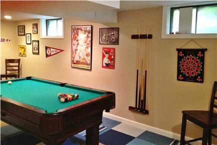 South Harwich Cape Cod vacation rental - Baseball-themed rec room with 7-ft pool table