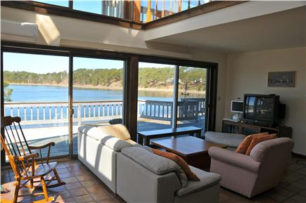Wellfleet, south of town cente Cape Cod vacation rental - High Ceiling Living room with the Cove view (1st floor)