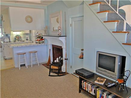 Onset on Water Street Inlet MA vacation rental - LR & under-Stairway Media Set opening to Kitchen & Breakfast Bar