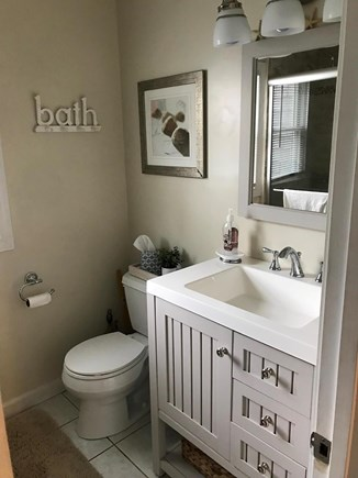 West Dennis Cape Cod vacation rental - Recently remodeled bathroom, with excellent lighting.