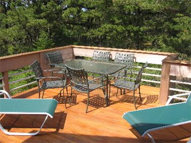 So.Wellfleet Cape Cod vacation rental - Large deck on main level of Tree House in S. Wellfleet, MA