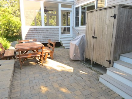 Brewster Cape Cod vacation rental - Patio houses picnic table, outdoor shower and gas grill