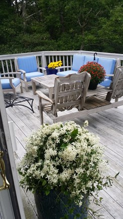 Wellfleet  Cape Cod vacation rental - Portion of large back deck, has long picnic table and Chaises too
