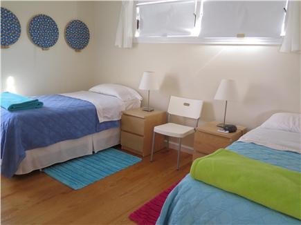 Beach Point, North Truro Cape Cod vacation rental - Twin bedroom: two twins with memory foam, peek of the bay