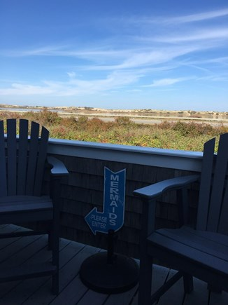 Beach Point, North Truro Cape Cod vacation rental - Deck: comfortable bar height table and chairs by Seaside Casual