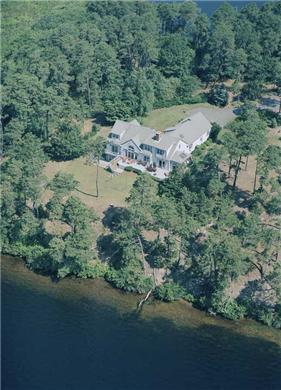 Brewster Cape Cod vacation rental - Aerial view of waterfront home and property