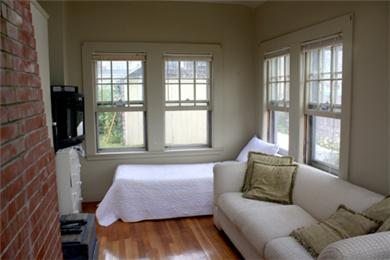 Falmouth Cape Cod vacation rental - Sunroom / tv room with skylight and two twin beds