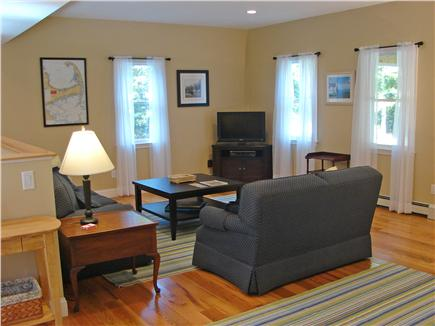 West Brewster / East Dennis  Cape Cod vacation rental - Large, bright liv. room w/ new T.V./ DVD player/hi speed wireless