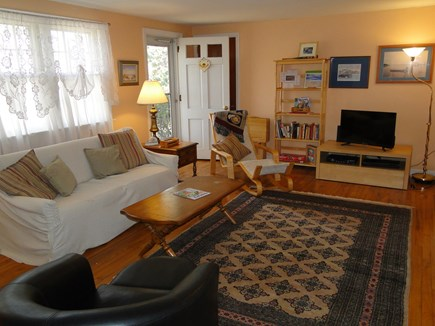 South Dennis Cape Cod vacation rental - Living room with hardwood floors, flat screen TV