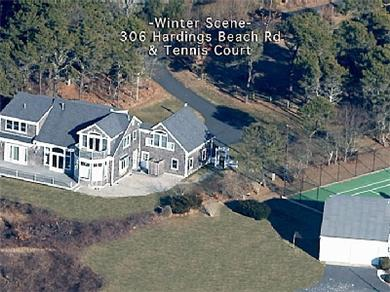 Chatham, short walk to Hardings Beach Cape Cod vacation rental - Winter aerial view of home and tennis court
