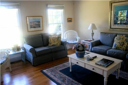 Chatham, short walk to Hardings Beach Cape Cod vacation rental - Living room with TV, computer hookup and wifi station