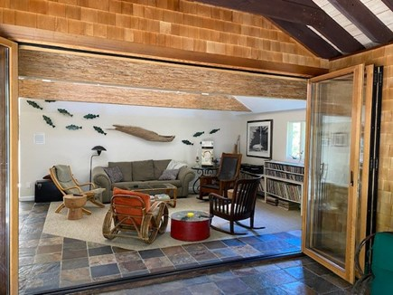 North Eastham Cape Cod vacation rental - Living Room - opens fully onto screened porch