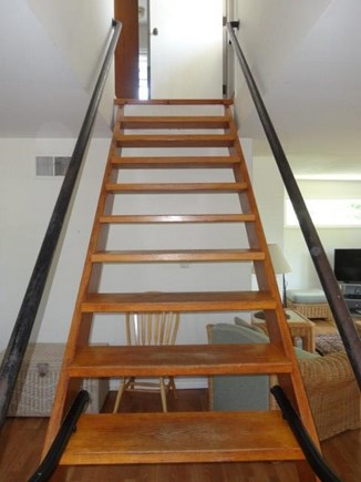 West Yarmouth Cape Cod vacation rental - Stairway to bedrooms and deck