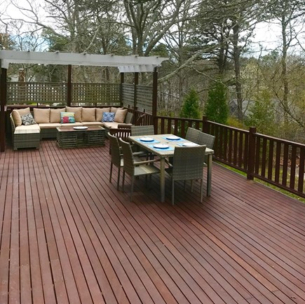 Brewster Cape Cod vacation rental - Oversized Mahogany Deck with Multiple Seating Areas and Grill
