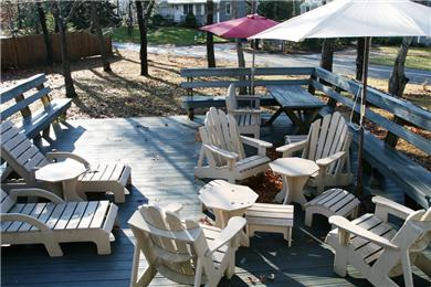 Brewster Cape Cod vacation rental - Spacious back deck + yard with grill, picnic table, chairs