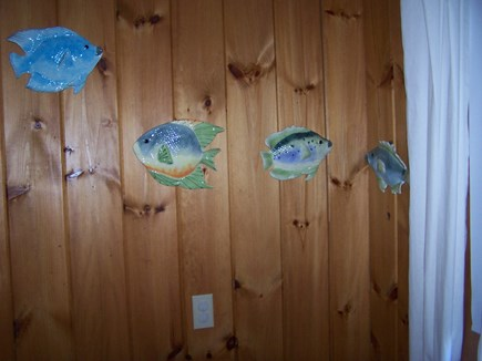Truro Cape Cod vacation rental - Fishies on the walls in back bedroom