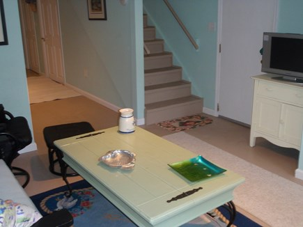 Brewster Cape Cod vacation rental - Lower Level Walk Out Basement Sitting Area with TV