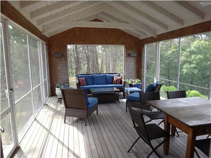 South Truro Cape Cod vacation rental - Spacious screened porch is big enough for lounging and dining.