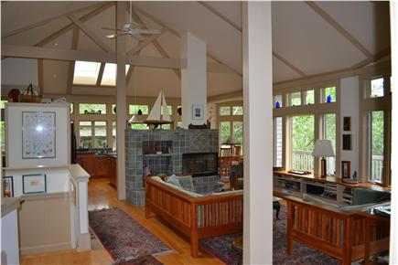 Truro Cape Cod vacation rental - Living room on main floor overlooking wooded valley
