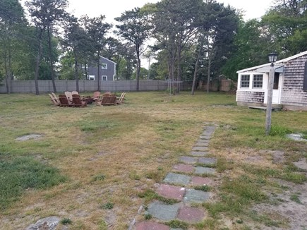 Dennis Port Cape Cod vacation rental - Large fenced in Backyard with a firepit