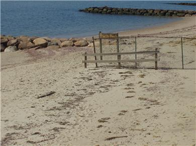 Dennisport Cape Cod vacation rental - Private beach on the right after fence