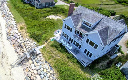 Dennis Village Cape Cod vacation rental - Drone View of House and Beach