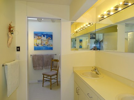 N.Truro Bay Village Cape Cod vacation rental - Artsy double  bathroom with shower, tub and sliding door