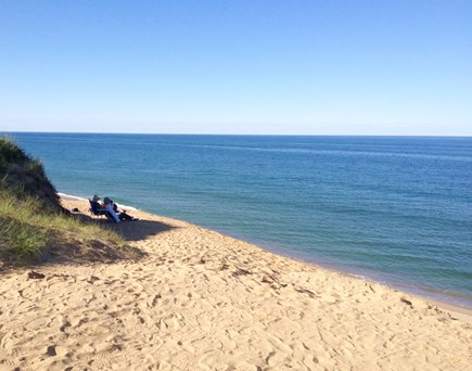 N.Truro Bay Village Cape Cod vacation rental - Our private  beach  is 300 yds out, Cold Storage  to left, PT r.