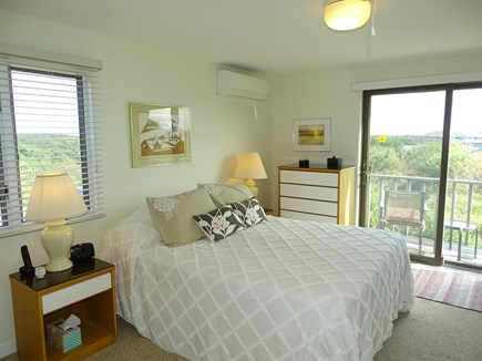 N.Truro Bay Village Cape Cod vacation rental - Queen bedroom with private deck, TV