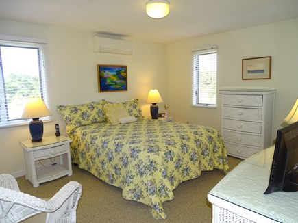 N.Truro Bay Village Cape Cod vacation rental - Queen bedroom with flat screen non- cableTV