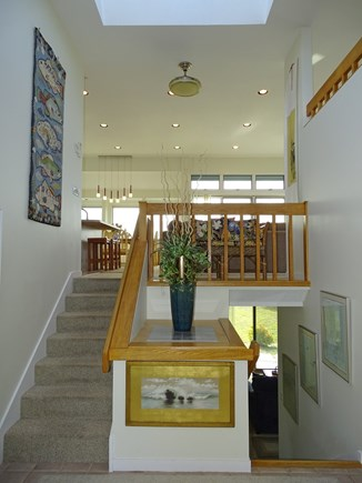 N.Truro Bay Village Cape Cod vacation rental - Entry level looking up to living room and down to den