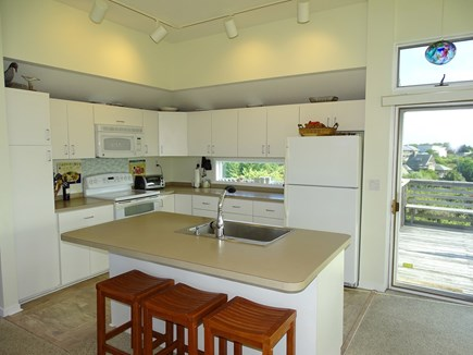 N.Truro Bay Village Cape Cod vacation rental - Modern kitchen with large island with seating