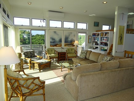 N.Truro Bay Village Cape Cod vacation rental - Living room with sliders to deck