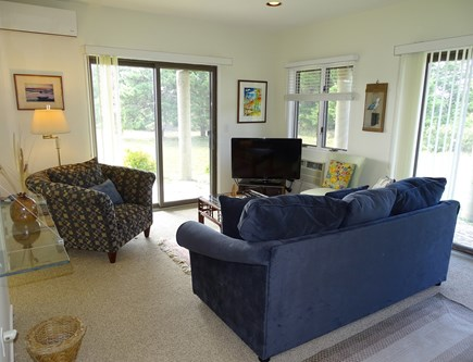 N.Truro Bay Village Cape Cod vacation rental - Downstairs den with sliders to back yard and bath, also TV