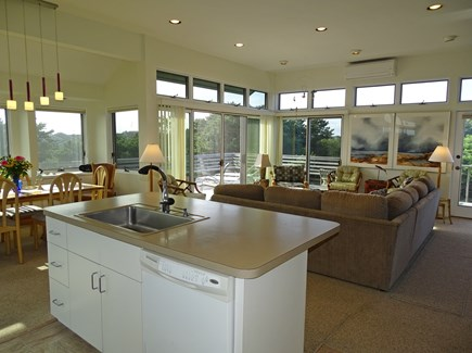N.Truro Bay Village Cape Cod vacation rental - Open floor plan – view from kitchen