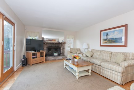 Bourne, Buzzards Bay Cape Cod vacation rental - Main floor living room with sliders to deck