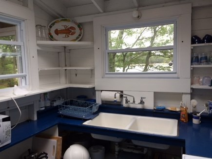 Ashumet Pond, Mashpee Cape Cod vacation rental - Kitchen with stove, microwave, full fridge