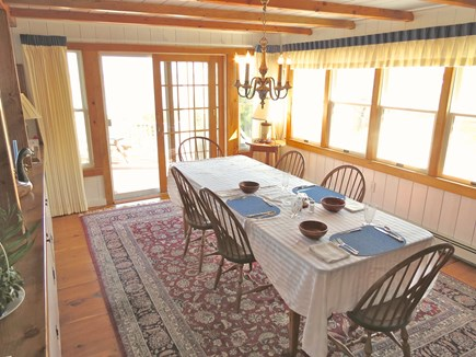 Brewster Cape Cod vacation rental - Large dining table with water view