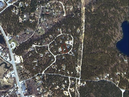 Wellfleet Cape Cod vacation rental - Approx location of home outlined in red, pond to right
