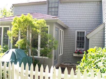 New Seabury, Maushop Village,Mashpee Cape Cod vacation rental - One of two patios, sun porch entrance, Gas Grill