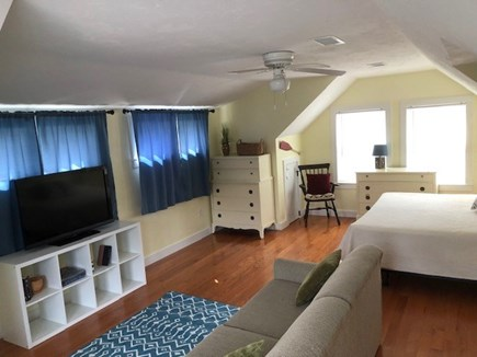 Brewster Cape Cod vacation rental - Master Bedroom:  King size bed, queen pull out couch and 2nd TV